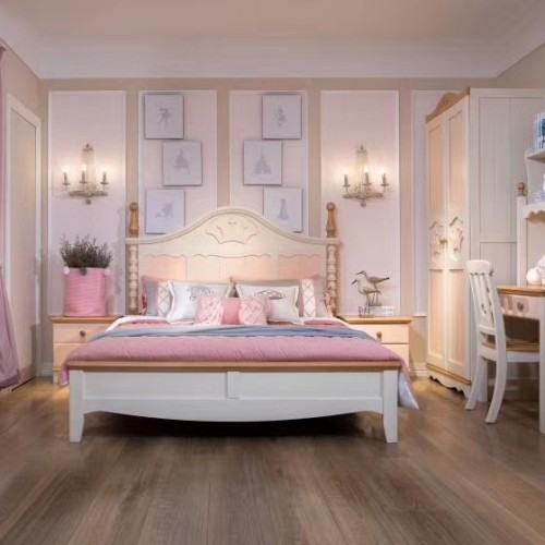 女童粉色公主床粉色学习桌+双开门衣柜_05|