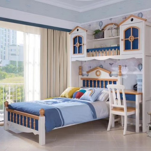 儿童美式带书桌单人床男童蓝色书桌单人床组合_06|