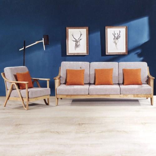 布艺软包坐垫沙发 客厅原木色直排沙发 004-1#