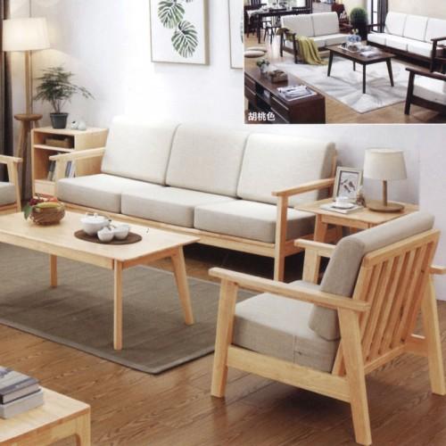 北欧风格布艺沙发 原木框架1+2+3沙发组合 003-1#