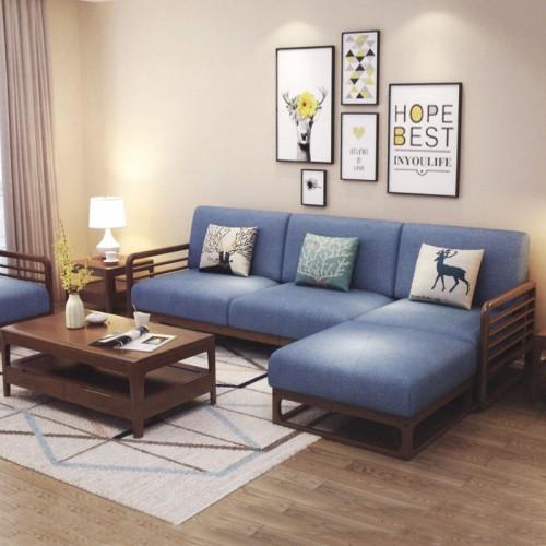 实木框架转角沙发 客厅沙发茶几组合家具 002-3#