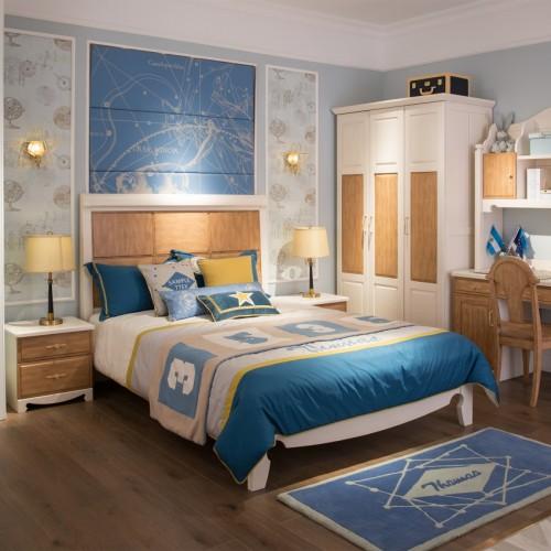 儿童美式托马斯套房单人床+书桌+三开门衣柜_TCP01套房