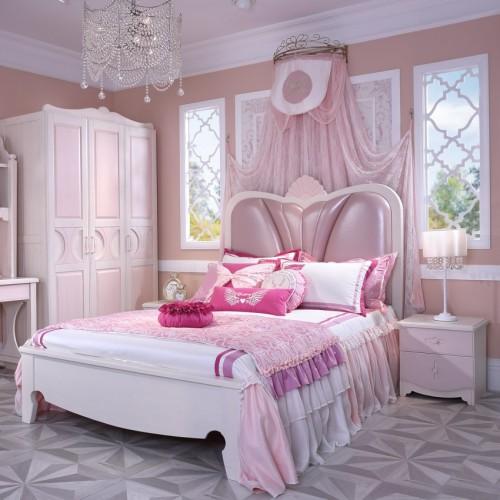 女童公主套房公主软皮单人床+粉色三开门衣柜+粉色书桌_TCP02套房