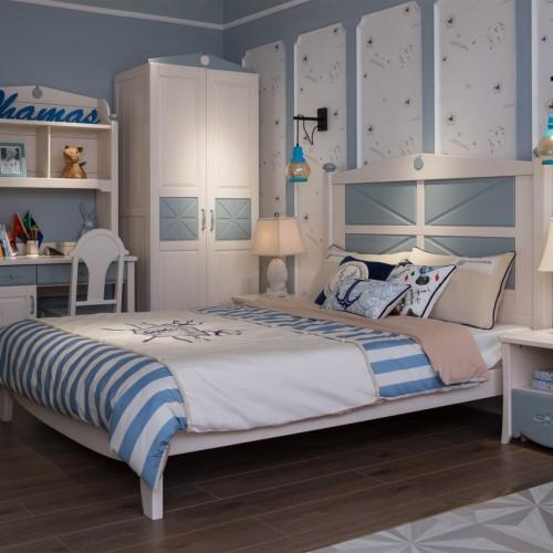 地中海风格儿童套房蓝色单人床+双开门衣柜+蓝色书桌_TCP03套房