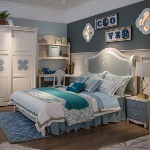 简约时尚儿童套房浅蓝色单人床+推拉门衣柜+蓝色书桌_TCP05套房