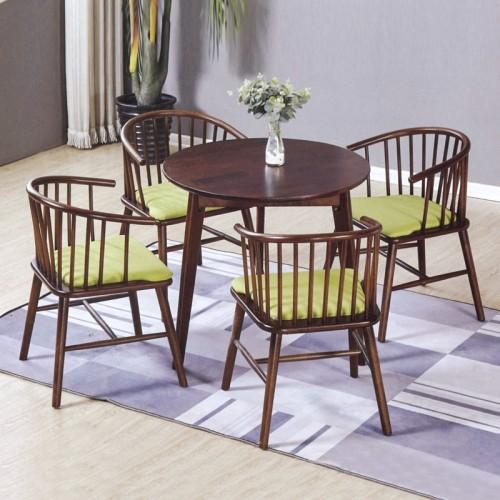 咖啡厅批发桌椅 黑胡桃色圆形餐桌 小圆桌#