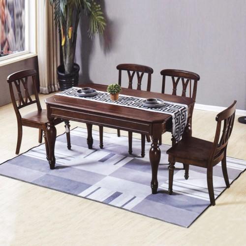 简美风格餐桌椅 长条形实木桌 美式八角桌#