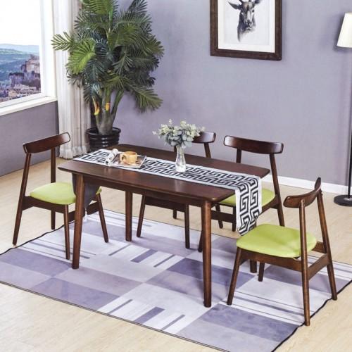 实木长条形餐桌 布艺坐垫餐椅 B-17#