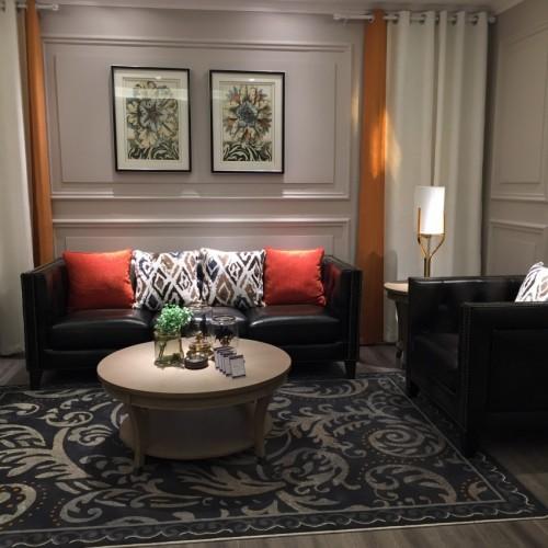 时尚美式深色三人沙发简约沙发—三人沙发(皮))LS19103
