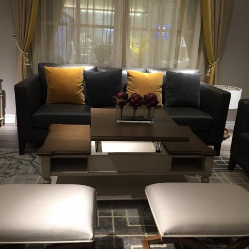 时尚美式深色三人沙发简约沙发_三人沙发(皮)LS720630