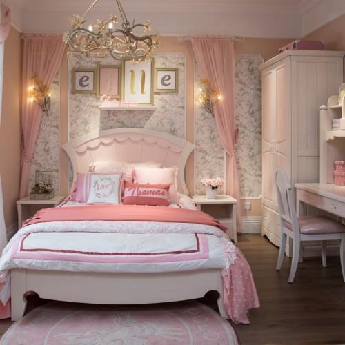 女童粉色公主套房公主单人床+双开门衣柜+白色学习桌_TCP07套房