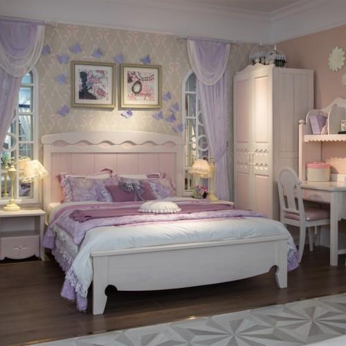 女童梦幻套房粉色公主单人床+双开门衣柜+粉色书桌_TCP08套房