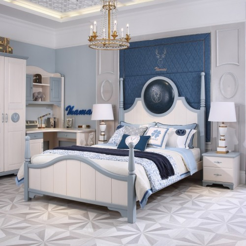 简约美式男童套房蓝色宝石单人床+双开门衣柜+白蓝套色书桌_TCP09套房