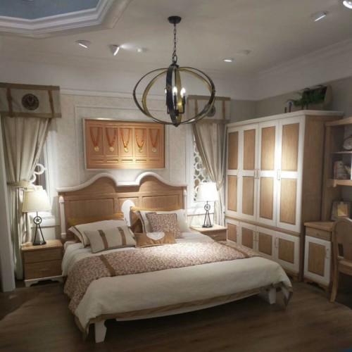 儿童美式套房实木单人床+四门衣柜+书桌_TCP10套房
