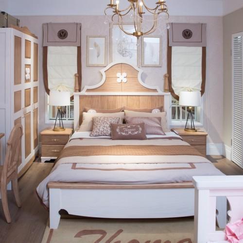 儿童实木套房美式单人床+三门衣柜+书桌_TCP11套房