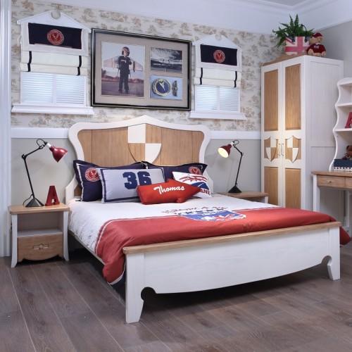 儿童地中海风格套房实木单人床+双开门衣柜+学习桌_TCP12套房