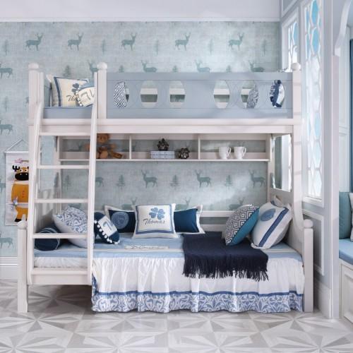 儿童时尚实木上下铺男童蓝色双层床_TCZ01蓝色双层床