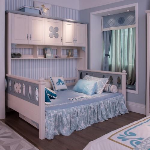 儿童简约实木蓝色柜子床男女童蓝色柜子床_TCZ02蓝色柜子床