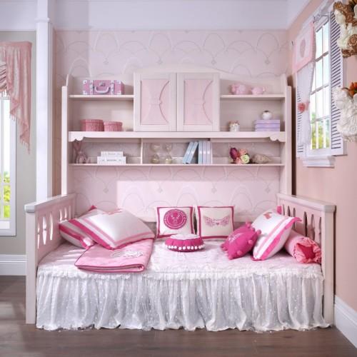 简约儿童柜子床女孩粉色柜子床_TCZ03粉色柜子床