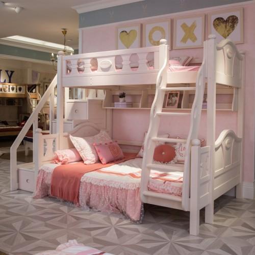 女童粉色带步梯上下铺时尚粉色女孩步梯双层床_TCZ06粉色双层床