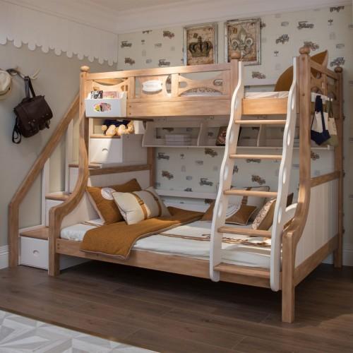 儿童原木色带步梯双层床男女孩原木色上下铺_TCZ07双层床