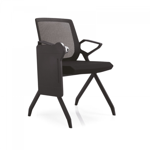 网布弓形办公椅厂家 现代培训会议椅带侧板D10