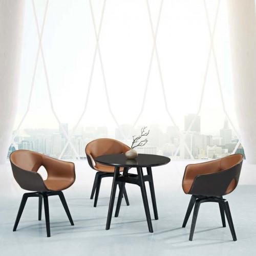实木腿休闲椅 真皮全包椅子 Q9052-1#