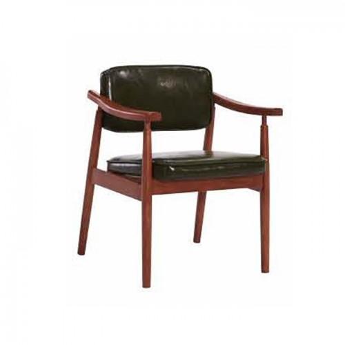 实木休闲靠背椅 真皮坐垫 Q907#