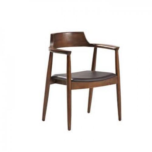 现代极简休闲靠背实木椅子 Q907-2#