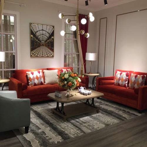 时尚美式浅色三人位沙发-简约三人位沙发LS19143