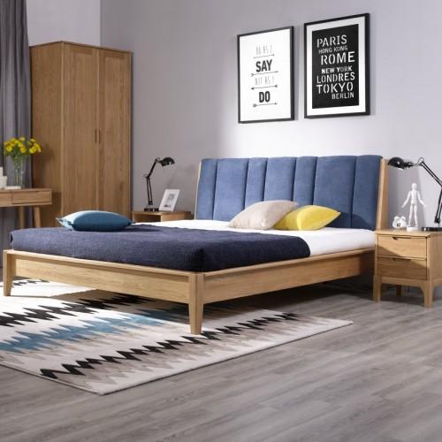北欧实木蓝色靠背双人床简约时尚实木双人床_无标题_00267