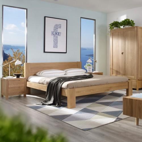 时尚简约北欧卧室套房实木双人床+双开门衣柜+电视柜_无标题_00505
