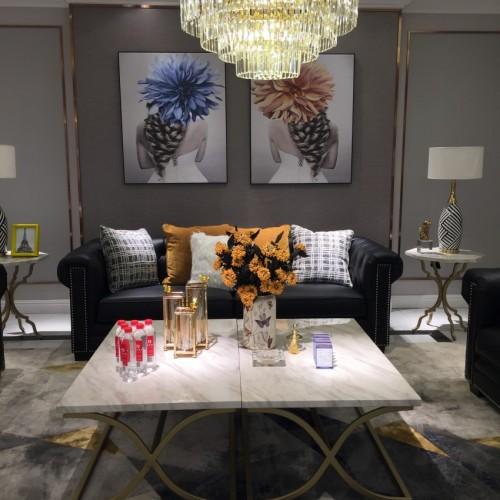 时尚美式浅色三人位沙发-简约三人位沙发LS719630