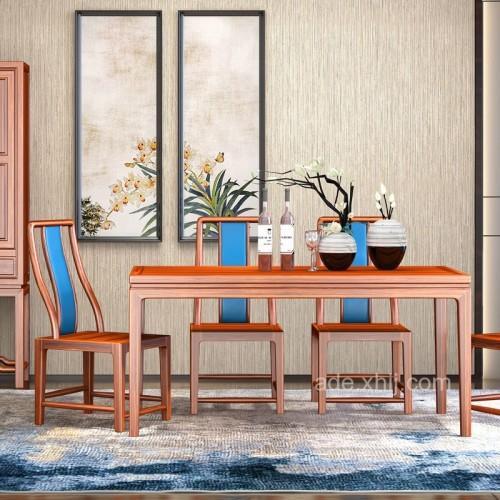 简约新中式乌金木餐桌椅组合04
