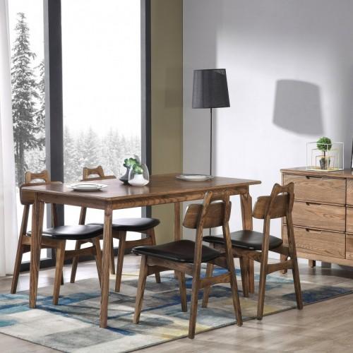 简约现代实木餐桌北欧风格胡桃木餐台餐椅_CT102