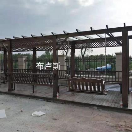 香河布卢斯户外秋千家具厂家哪家好碳化木松木防腐木凉亭