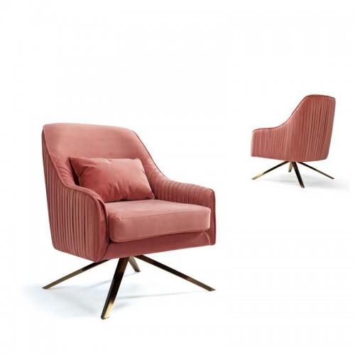 后现代轻奢单人沙发椅北欧时尚布艺休闲椅Q9032#