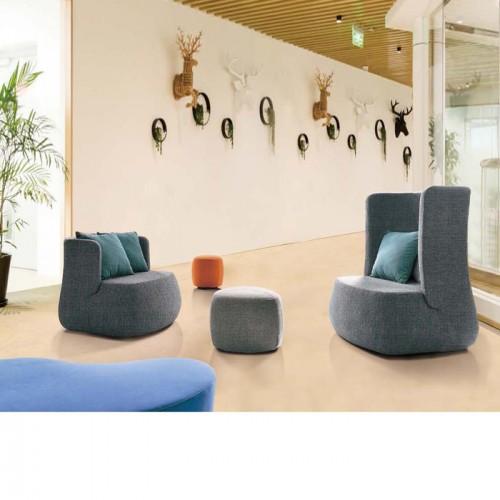 简约现代棉麻布单个座椅休闲椅LD0081#