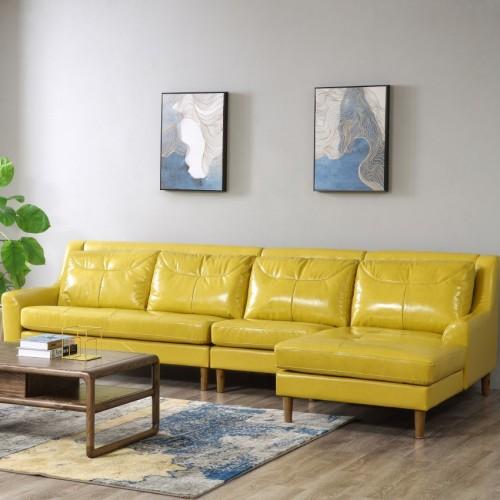 时尚靓丽姜黄色软皮转角沙发现代北欧亮色软皮转角沙发_AF1102