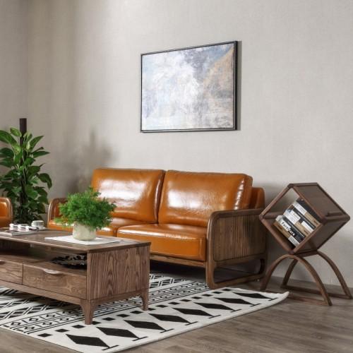 北欧实木软三人位沙发时尚软皮三人位沙发__I7A9815