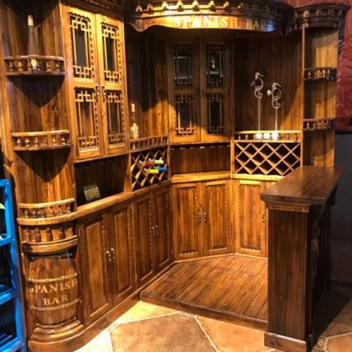 仿古碳化木中吧台 BT-1转角吧台红酒柜