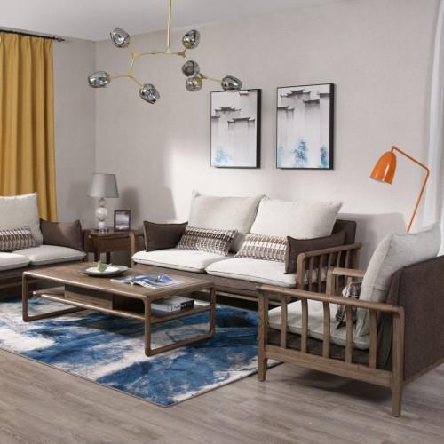 现代北欧胡桃木1+2+3沙发时尚北欧胡桃木双人位沙发_CF1101