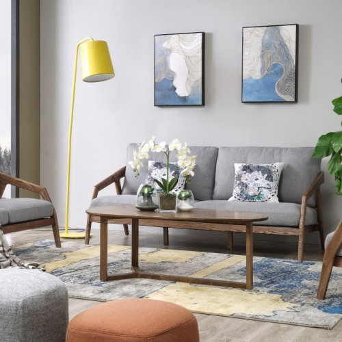 简约实木布艺双人位沙发时尚北欧高级灰布艺沙发_CF1102