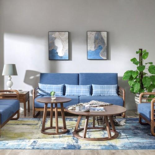 时尚北欧湖蓝色布艺三人位沙发简约现代实木布艺沙发_CF1105
