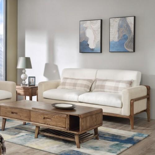 现代时尚白色布艺双人位沙发北欧风格白色布艺双人位沙发_CF1103