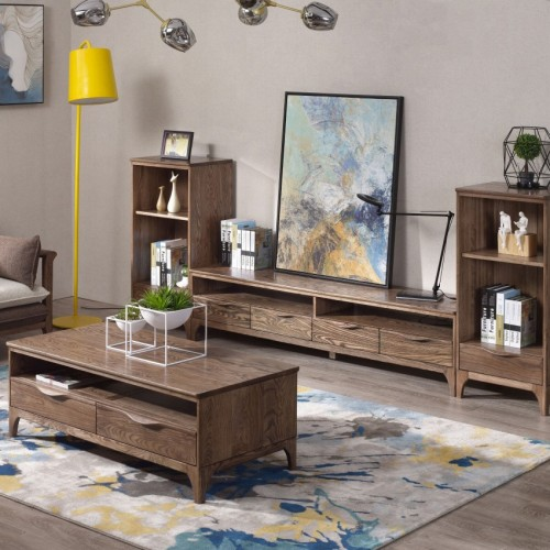 现代简约实木电视柜茶几时尚北欧胡桃木电视柜茶几_CN108