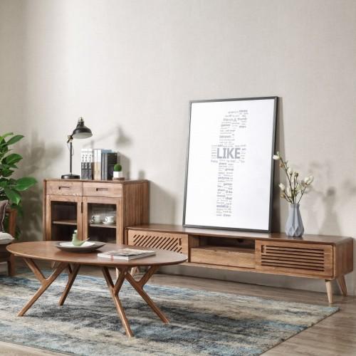 现代简约实木电视柜椭圆茶几时尚北欧风格电视柜 _CN308