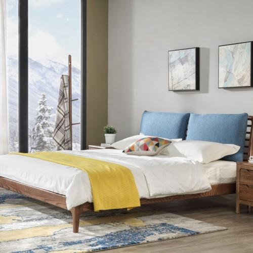 现代简约蓝色软包双人床时尚北欧蓝色双人床_C07T8