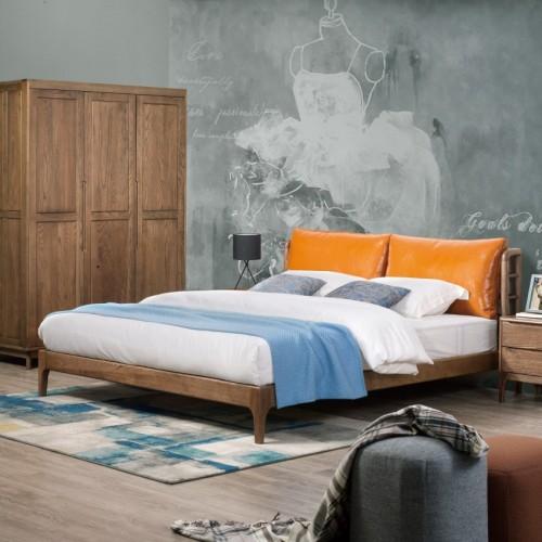 时尚北欧卧室套房软包床头双人床+三门衣柜_C08T8