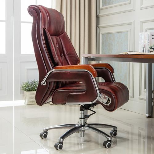 办公椅子老板椅可躺电脑椅家用真皮书房转椅ZY-01